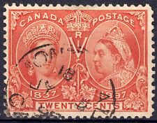 Canada 20c QV Diamond Jubilee, Scott 59v RE-ENTRY, F-VF used, catalogue - $450