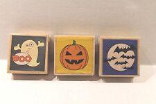Studio G LOT of 3 Halloween Wood Mounted Rubber Stamps Pumpkin Ghost Bats