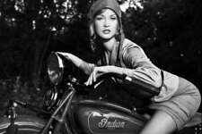 INDIAN SCOUT VINTAGE MOTORCYCLE PIN UP STYLE POSTER PRINT B&W 24x36 HI RES 9 MIL