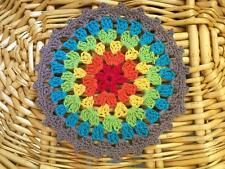 Lovely Colourful Cotton Hand Crochet Lace Doily Round 12cm--Purple B