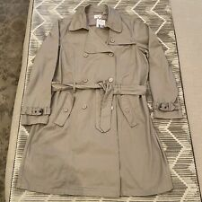 NWT La Redoute Double Breasted Belted Mid Length Tan Trench Coat Cotton Size 16