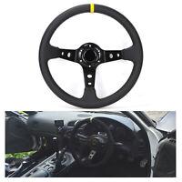 350mm Deep Dish Steering Wheel PVC Leather fits MOMO BOSS HUB Universal  NEW