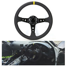 350mm Deep Dish Steering Wheel PVC Leather fits MOMO BOSS HUB Universal  NEW
