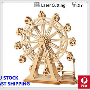 DIY 3D Laser Cutting Wooden Ferris Wheel Puzzle Game Gift for Children Kids Mode