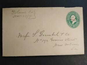 Louisiana: Poland 1891 2c Entire Cover, Ms, DPO Rapides Parish