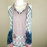 Tolani Women's Floral Print Boho Sleeveless Tank Blouse Top Shirt Size Small