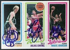 1980 Topps Larry Bird / Magic Johnson / Julius Erving Rookie Reprint - Facs Auto