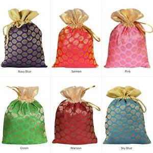 Favors Bag 50 Potli Gift Pouch Brocade Art Silk Drawstring Small Party Gift Bag