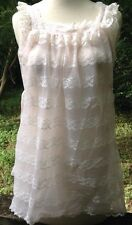 Miss Elaine Babydoll Nightie Nightgown Vtg 1960s Pink White Lace Sissy Sz S/M