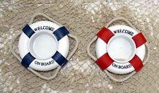 2 Rettungsring-Teelicht-Halter blau und rot ca. Ø: 8 cm