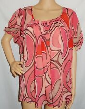 """SARA"" - Good Pre Loved - Size XL - ""Pink, Red, Black"" Short Sleeve Blouse"