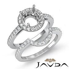 Diamond Round Cut Semi Mount Engagement Ring Bridal Setting 18k Gold White 1Ct