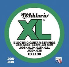 3 Pack! D'Addario EXL130 Bright Round Wound 8-38 Electric Guitar Strings