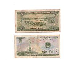 Vietnam Viet Nam bank note money 5 Dong note Fishing scene Genuine Vintage