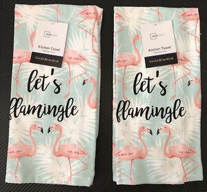 2 Pink Flamingo Kitchen Stove Dish Hand Towel Set of 2 Terrycloth