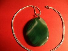 """Gorgeous Green Oval Agate Pendant on a 26"""" 14K White Gold Filled Snake Chain."""
