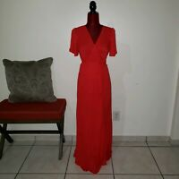 Lulus Much Obliged Wrap Maxi Dress Red Size S  used