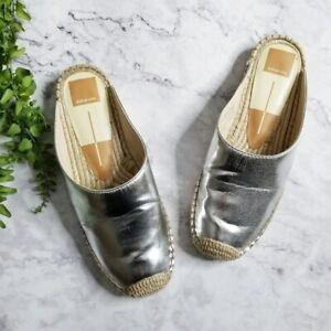 Dolce Vita Tyle Metallic Silver Leather Summer Espadrille Mule Slide Flats 7.5