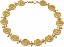 "Etruscan Janus 14 Charm Necklace 24 Karat Gold Plated 16"" & 2"" Extender"