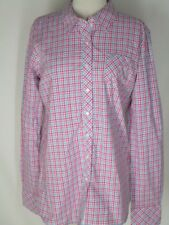NWOT Ariat Pink BLue White Checked Western Shirt Top Blouse L NEW