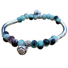Women Boho Style Tibetan Silver-Plated Ceramics Chain Beads Bracelet Bangle