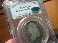 VERY OLD CAPPED BUST HALF DOLLAR  1809  PCGS & CAC  G-06 OVERTON 109a  III EDGE