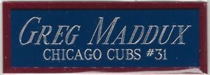 GREG MADDUX CUBS NAMEPLATE FOR AUTOGRAPHED Signed Baseball Display CUBE CASE