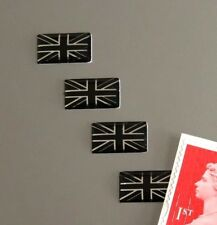 4 Union Jack Flag Miniature Stickers Domed Finish Black & Chrome 14mm