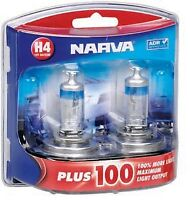 NARVA Headlight Globe BULB H4 12V 60/55W P43t Plus 100 Upgrade Pack of 2