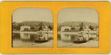Photo Stéréo Albuminé Tissu Lac de Côme Villa Melzi Vers 1860