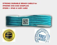1.5M STRONG BRAIDED USB CABLE SYNC CHARGER for iPhone 6s 7 5 5s iPad 4 Air SBlue