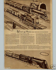 1942 PAPER AD Wind Up Mechanical Toy Train Set Union Station Terminal Sparking
