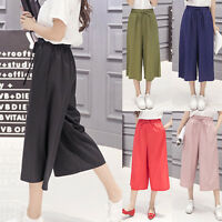 Womens Wide Leg Casual Culottes Palazzo Pants Baggy Loose Trousers High Waist