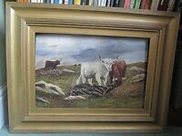 FRAMED OIL ON CANVAS PAINTING (CATTLE GRAZING) SIGNED F.M.ELLWAND 1927
