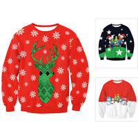 Unisex Mens Womens Knitted Red Ugly Christmas Sweater Sweatshirt Xmas Pullover