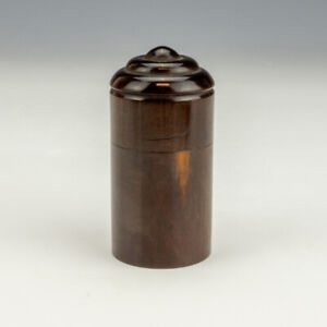 Antique Victorian Turned Rosewood - Miniature Pocket Travel Inkwell