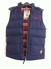 Mens Tokyo Laundry navy Padded hooded Gillet With Checked Lining Size S