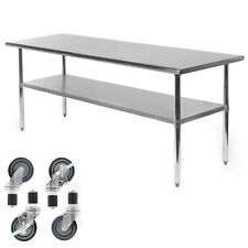 "Commercial Stainless Steel Kitchen Food Prep Work Table w/ 4 Casters - 30"" x 72"""