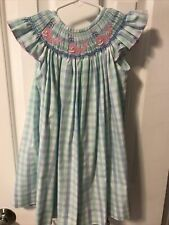 Shrimp And Grits Smocked Whale Angel Sleeve Dress Blue Green Check 2t