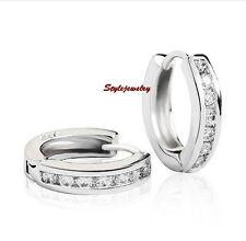 Stamped S925 Solid Sterling Silver Clear Lab Diamond Huggie Hoop Earring IE115