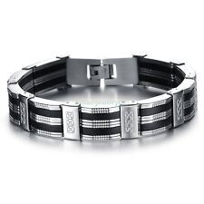 "8.2"" Black Silicone Silver Tone Link Cross Men's Stainless Steel Bangle Bracelet"