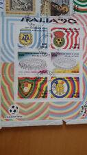 FOGLIETTO FRANCOBOLLI ITALIA 90 su busta timbrati + altri 5 francobolli italiani