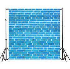 Blue Brick Wall 8x8ft Photo Backdrop Studio Vinyl Photography Background Props