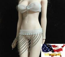 1/6 female white bra chain lingerie for Phicen Hot Toys Kumik Body ❶USA SELLER❶