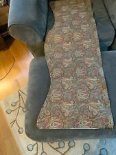 "GREEN & Red CRANBERRY Floral PAISLEY VALANCE 17""x 52"" SCALLOPED BOTTOM LINED EUC"