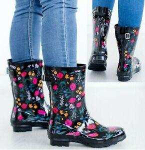 LADIES WOMENS WELLIES FLOWER GARDEN FESTIVAL RAIN WATERPROOF WELLINGTON BOOTS