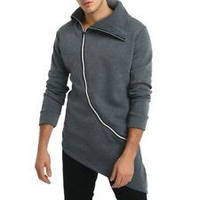 Mens Long sleeve Jacket Irregularity Zipper Occident Hoodie Outwear Winter New B