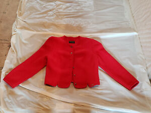 Womens Geiger Red Boiled Wool Sweater Jacket Austria Size 42