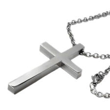 """Large Mens Polished Titanium Steel Cross Pendant on 24"""" 3mm Necklace Chain"""