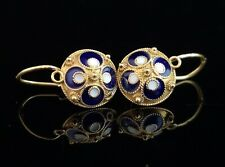 Vintage Russian enamel earrings, silver gilt, 1960s, Victorian revival